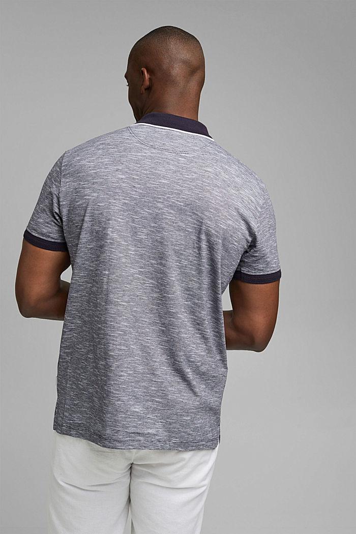 Melange jersey polo shirt made of organic cotton, NAVY, detail image number 3
