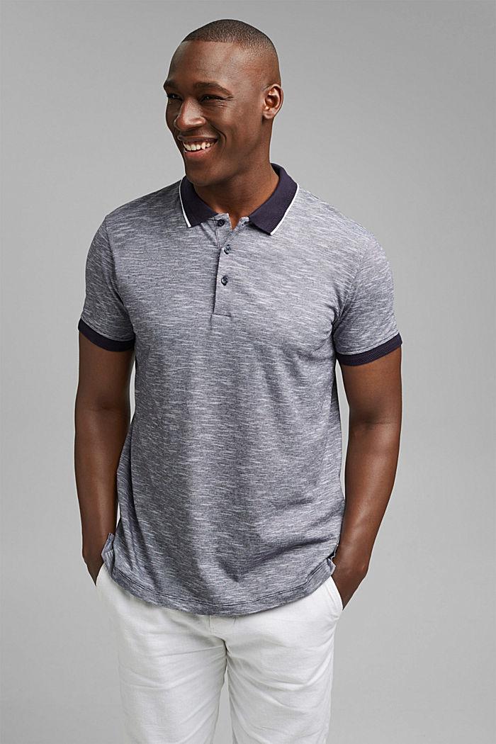 Melange jersey polo shirt made of organic cotton, NAVY, detail image number 4