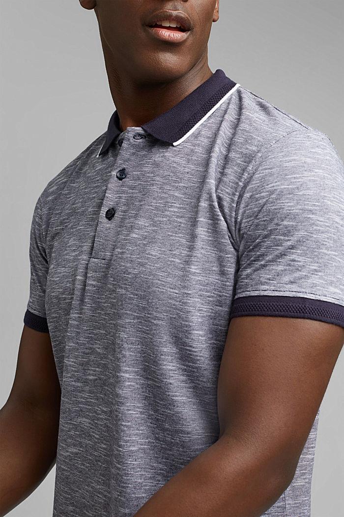 Melange jersey polo shirt made of organic cotton, NAVY, detail image number 1