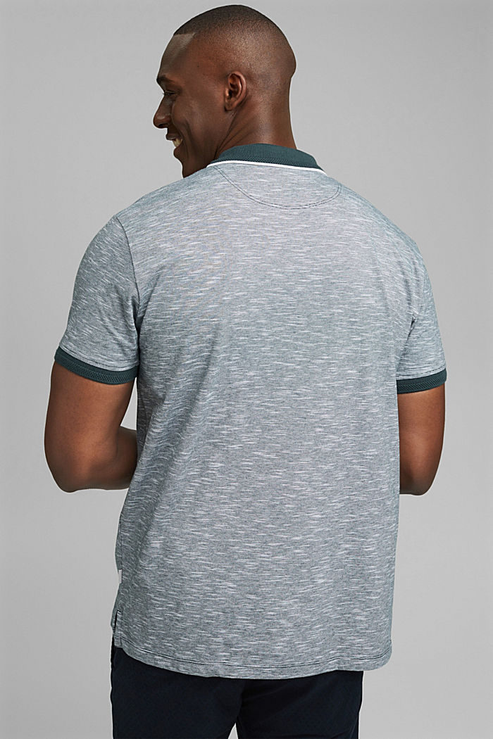 Meliertes Jersey-Polo aus Organic Cotton, TEAL BLUE, detail image number 3