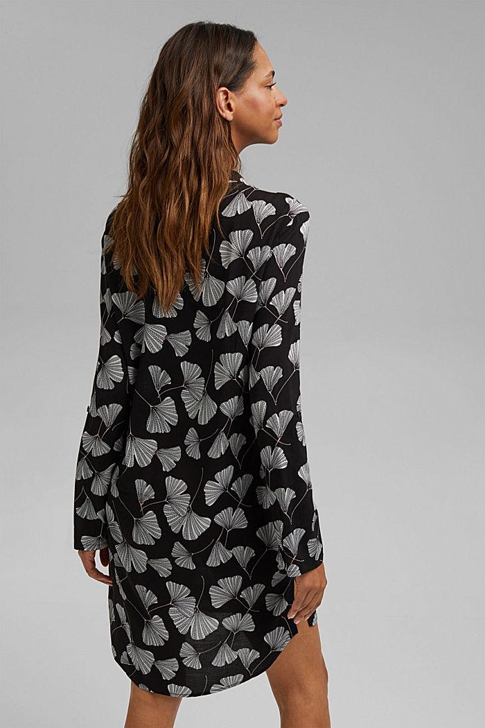 Nachthemd met ginkgoprint, LENZING™ ECOVERO™, BLACK, detail image number 2