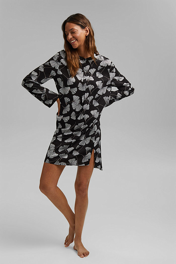 Nachthemd met ginkgoprint, LENZING™ ECOVERO™, BLACK, detail image number 0