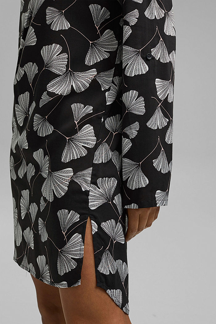 Nachthemd met ginkgoprint, LENZING™ ECOVERO™, BLACK, detail image number 3