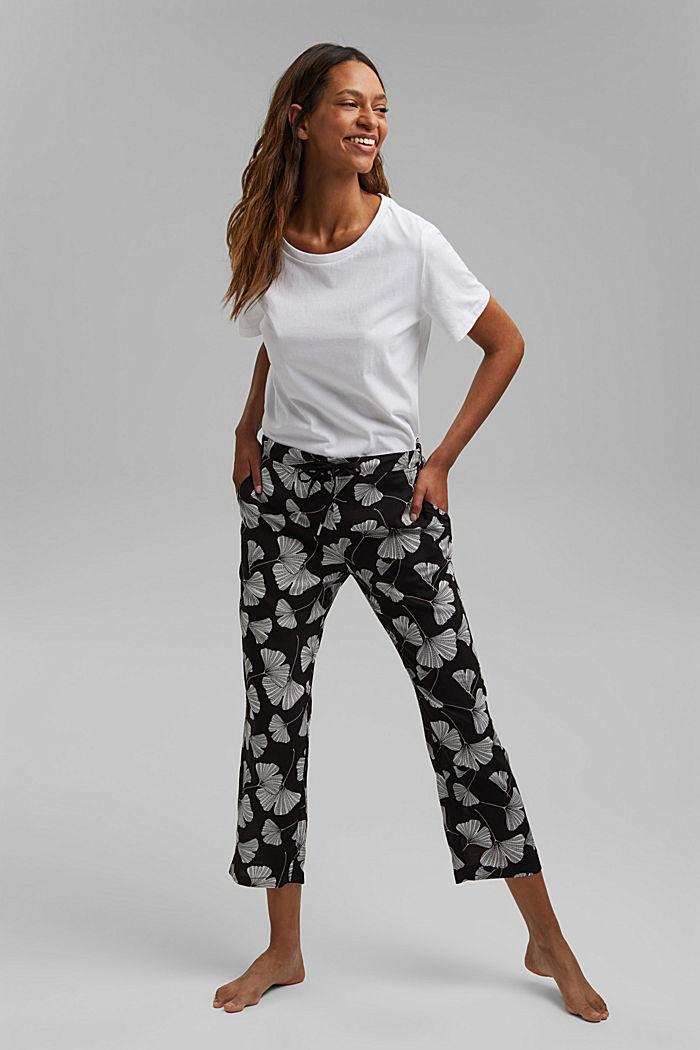 Pyjama bottoms with a gingko print, LENZING™ ECOVERO™, BLACK, detail image number 1