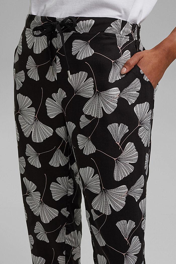Pyjama bottoms with a gingko print, LENZING™ ECOVERO™, BLACK, detail image number 2