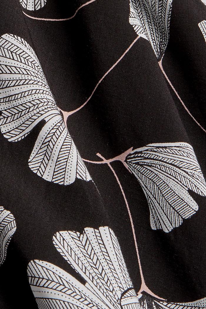 Pyjama bottoms with a gingko print, LENZING™ ECOVERO™, BLACK, detail image number 4