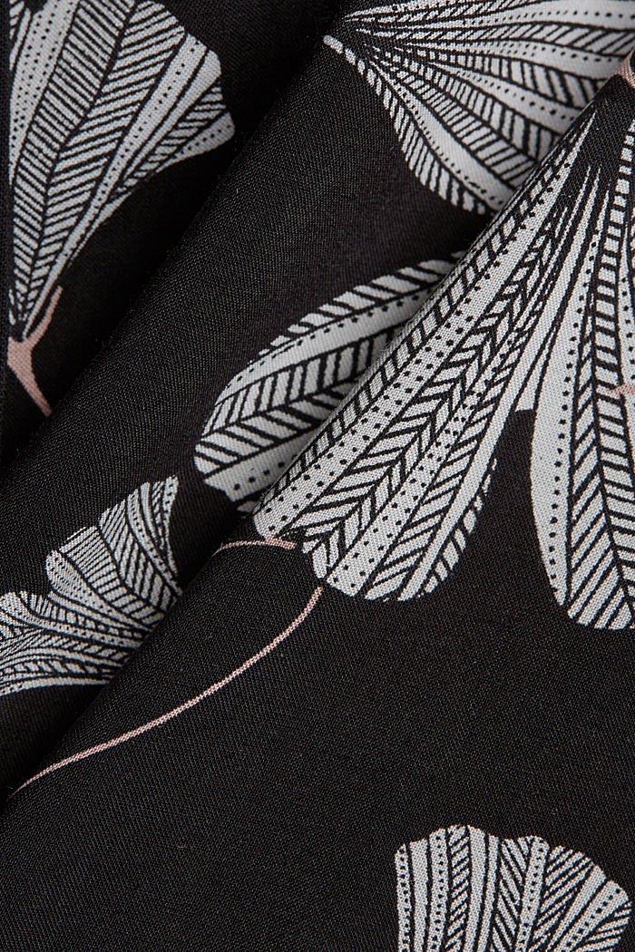 Pyjama shorts with a gingko print, LENZING™ ECOVERO™, BLACK, detail image number 4