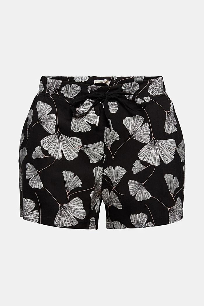 Shorts da pigiama con stampa di ginko, LENZING™ ECOVERO™