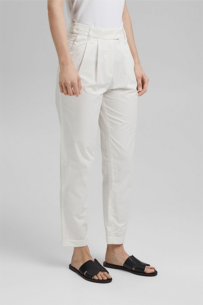 Ankle-length chinos made from 100% cotton, WHITE, detail image number 0