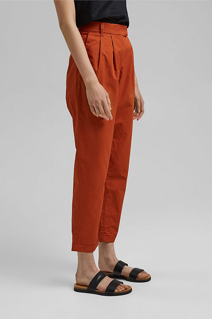 Ankle-length chinos made from 100% cotton, TERRACOTTA, detail image number 0