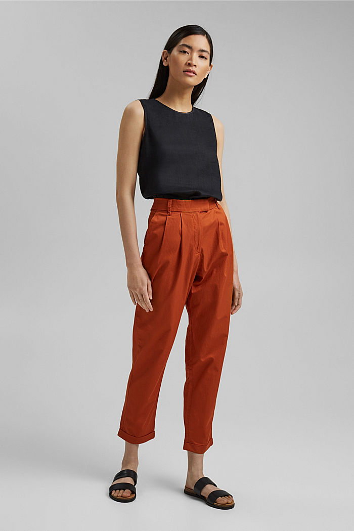 Ankle-length chinos made from 100% cotton, TERRACOTTA, detail image number 1