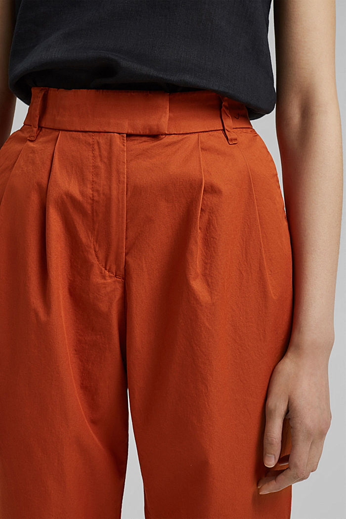Ankle-length chinos made from 100% cotton, TERRACOTTA, detail image number 2