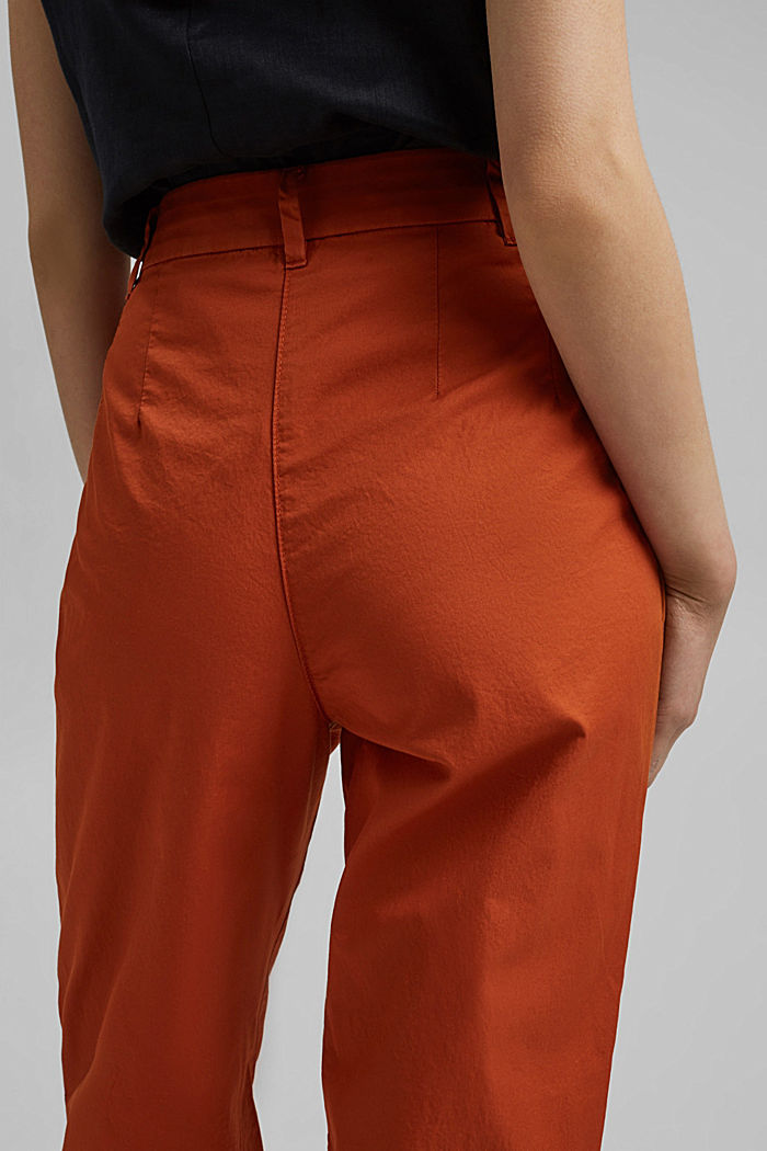 Ankle-length chinos made from 100% cotton, TERRACOTTA, detail image number 5
