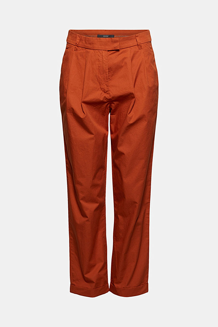 Ankle-length chinos made from 100% cotton, TERRACOTTA, detail image number 7