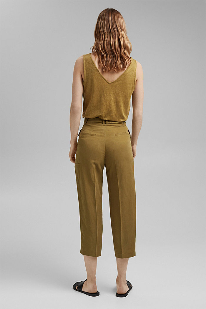Linen blend: high-waisted culottes with belt, OLIVE, detail image number 3