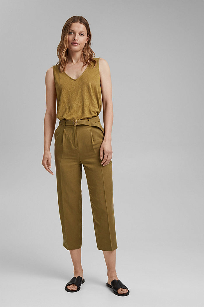 Linen blend: high-waisted culottes with belt, OLIVE, detail image number 1