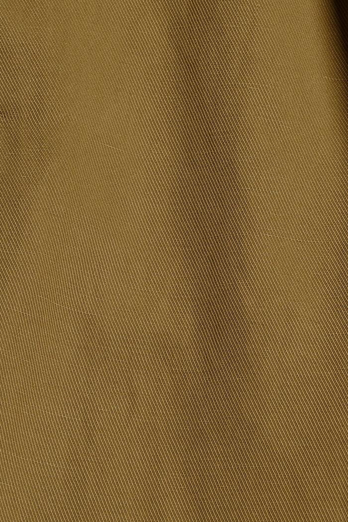Linen blend: high-waisted culottes with belt, OLIVE, detail image number 4