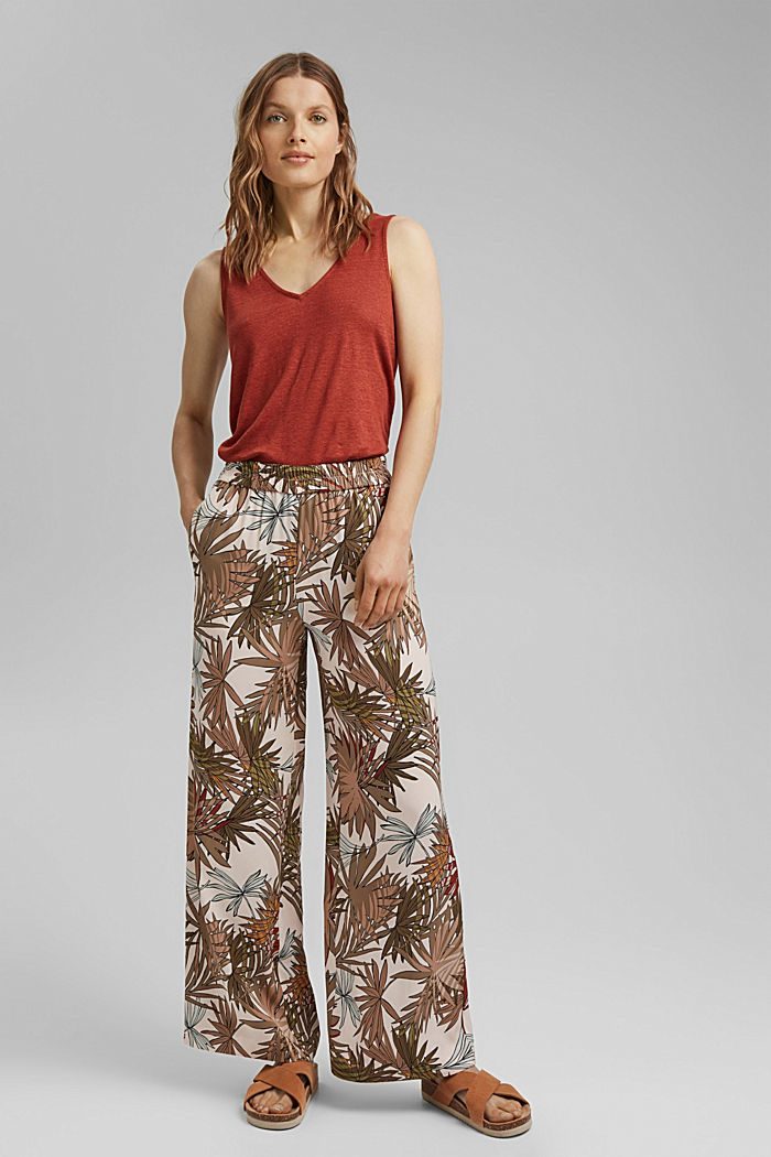Printed wide-leg trousers, LIGHT PINK, detail image number 1