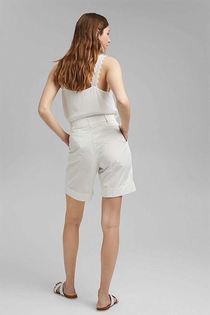 Šortky s vysokým pasem a sklady v pase, bavlna, OFF WHITE, detail image number 3