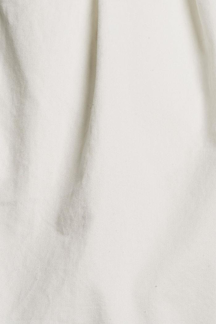 Šortky s vysokým pasem a sklady v pase, bavlna, OFF WHITE, detail image number 4