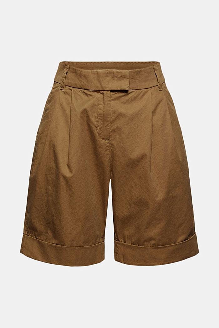 High-Rise-Shorts mit Bundfalten, Baumwolle, BARK, detail image number 7