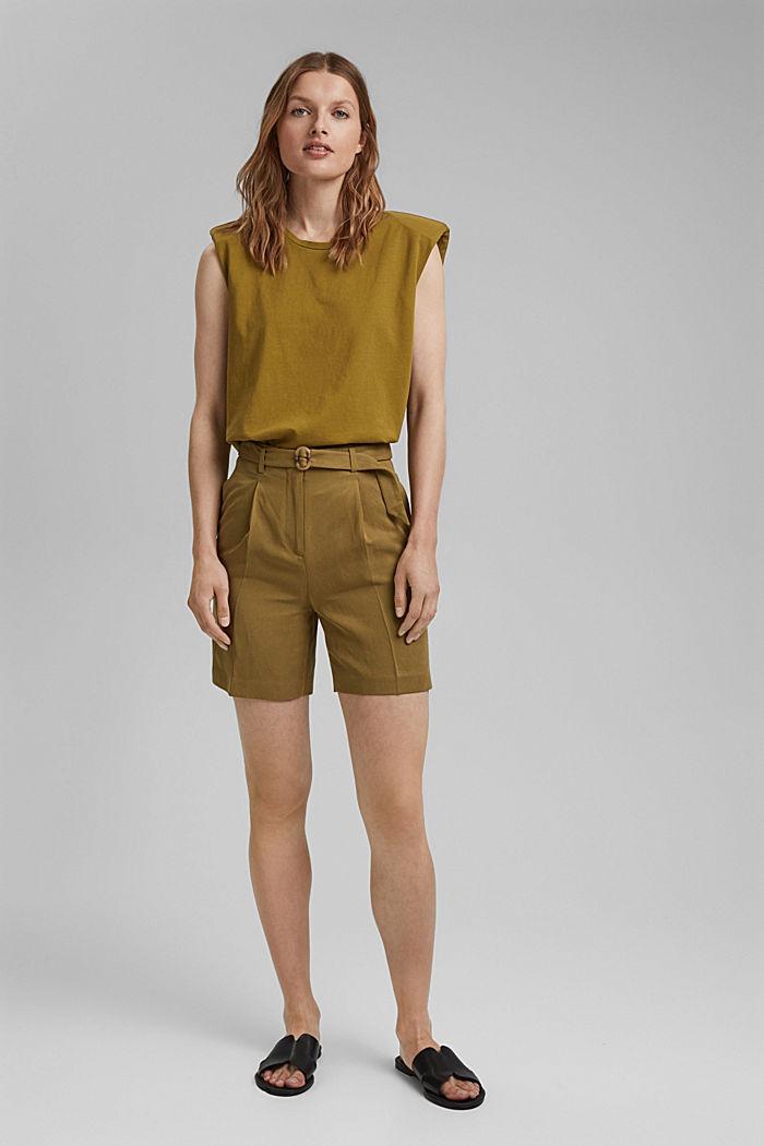 Linen blend: high-waisted shorts with belt, OLIVE, detail image number 1