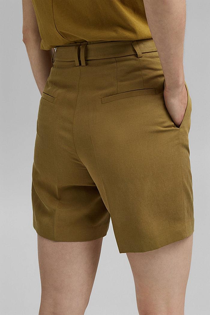 Linen blend: high-waisted shorts with belt, OLIVE, detail image number 2