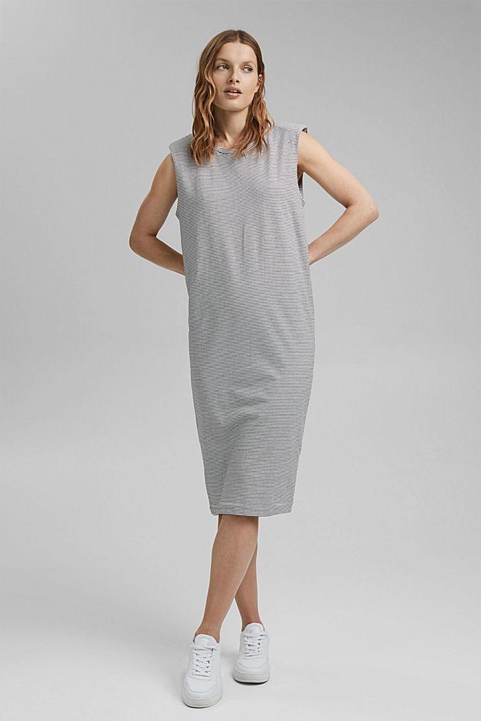 Jerseykleid mit Schulterpolstern, OFF WHITE, detail image number 0