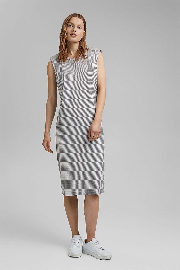 Jerseykleid mit Schulterpolstern, OFF WHITE, detail image number 1