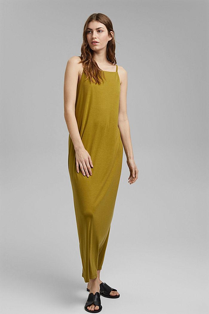 Aus TENCEL™: Jerseykleid mit Rückenausschnitt, OLIVE, detail image number 1