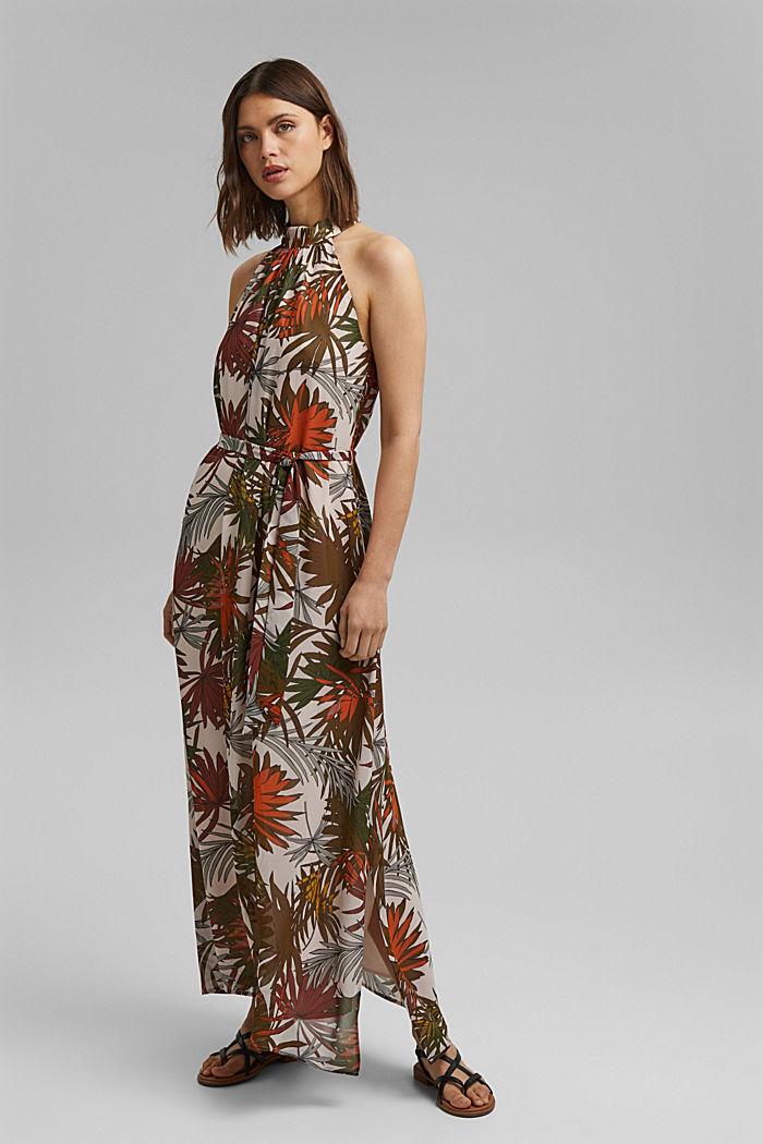 Halterneck maxi dress with botanical print, LIGHT PINK, detail image number 1