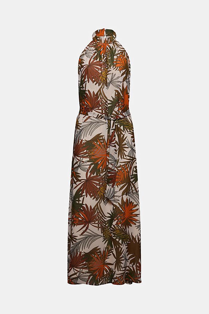 Robe maxi longueur à dos-nu et imprimé botanique