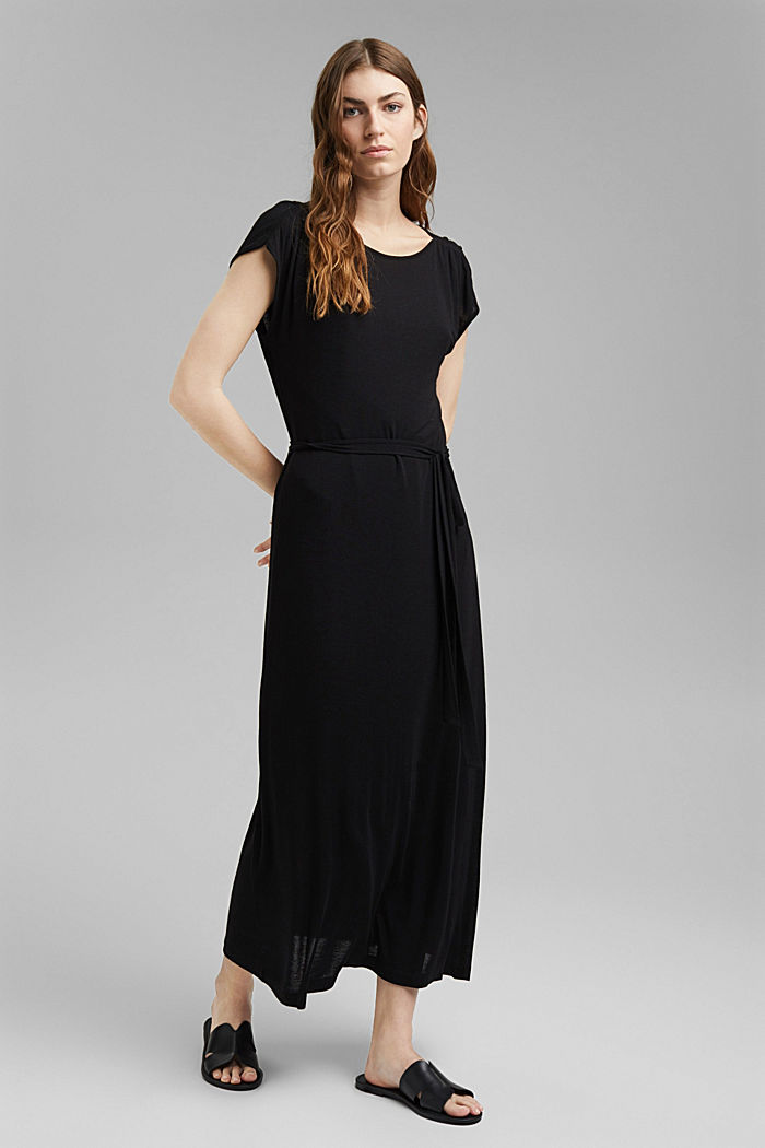 Jersey maxi dress made of LENZING™ ECOVERO™, BLACK, detail image number 1