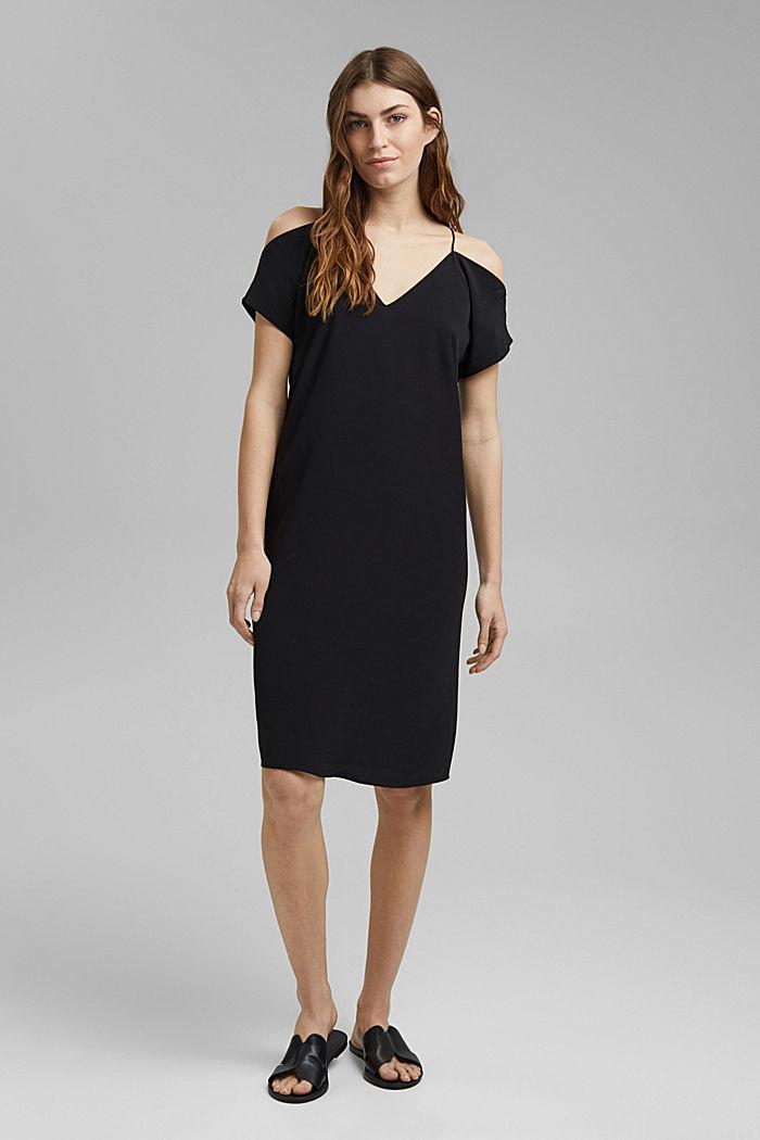 Dress with a Carmen neckline, BLACK, detail image number 1