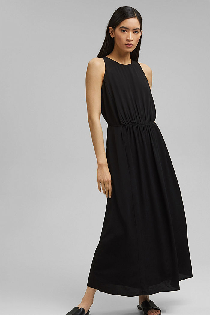 Maxi dress with LENZING™ ECOVERO™, BLACK, detail image number 0
