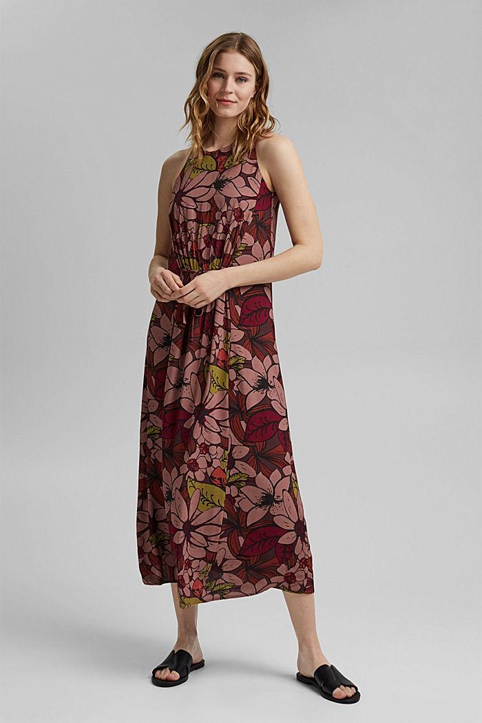 Gebloemde maxi-jurk met LENZING™ ECOVERO™, TERRACOTTA, detail image number 1