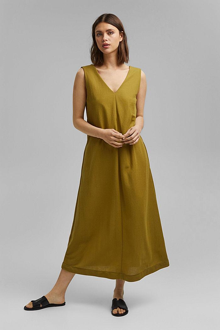 V-neck midi dress, LENZING™ ECOVERO™, OLIVE, detail image number 0