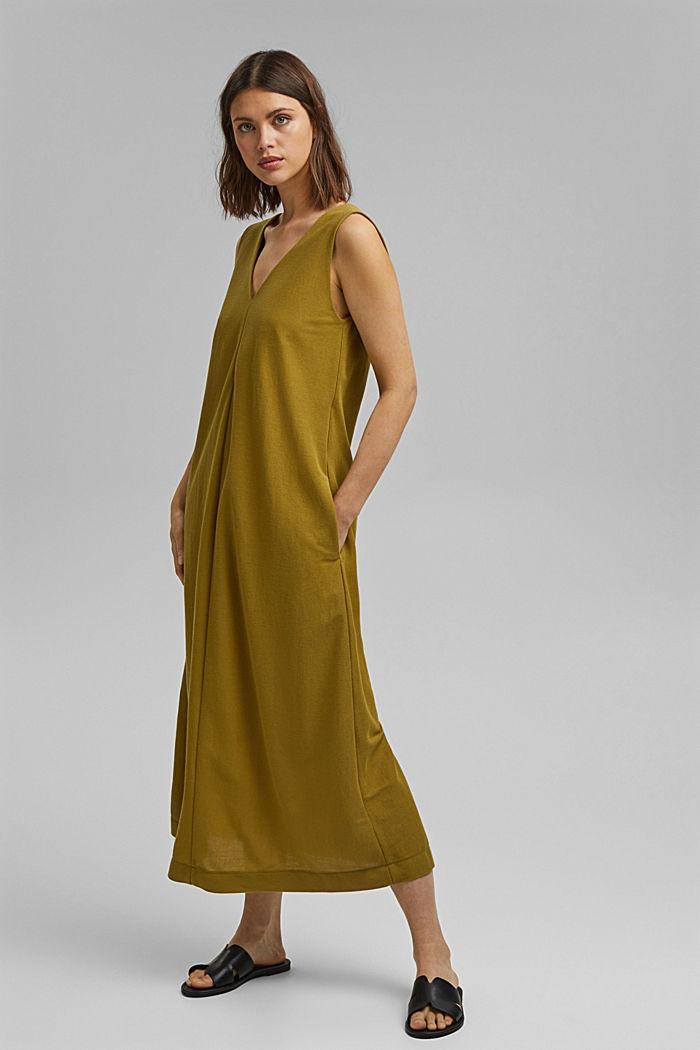 V-neck midi dress, LENZING™ ECOVERO™, OLIVE, detail image number 1