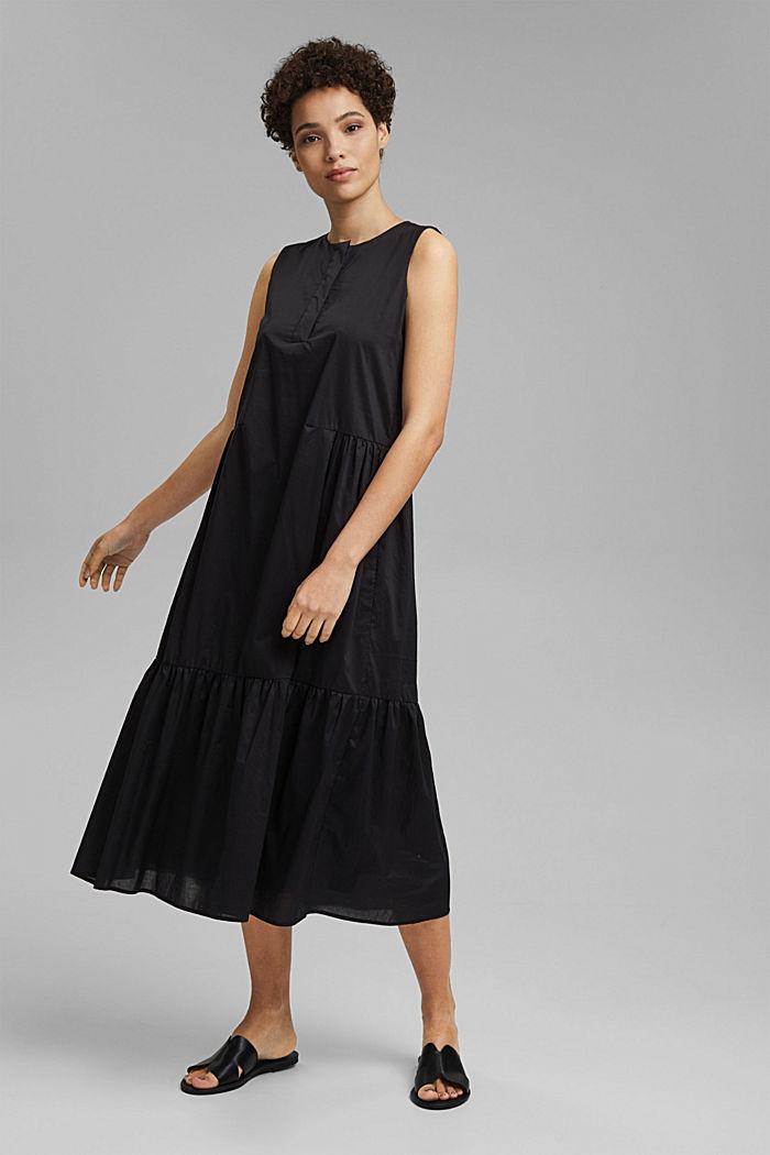 Sleeveless flounce midi dress made of cotton, BLACK, detail image number 0