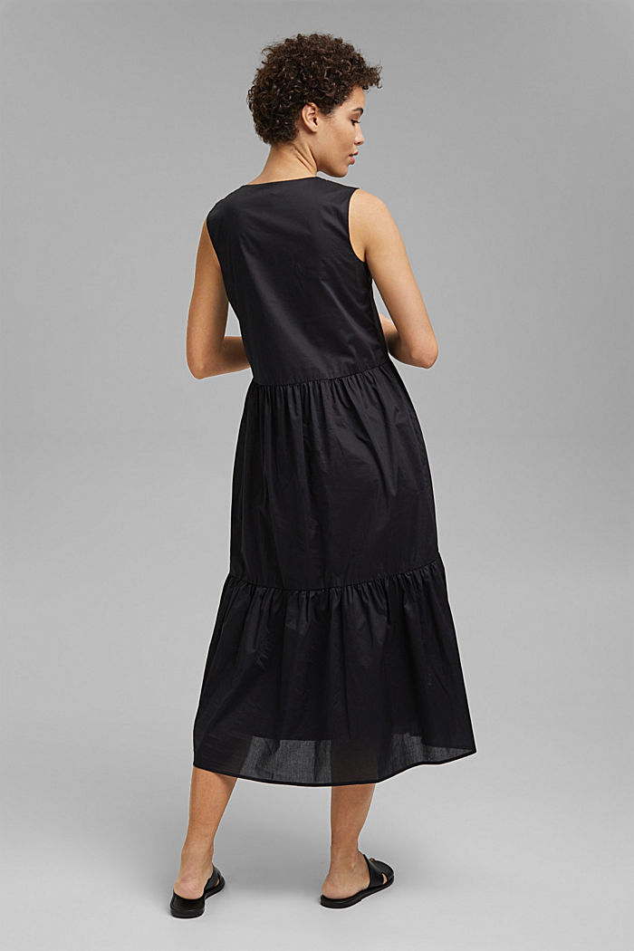 Sleeveless flounce midi dress made of cotton, BLACK, detail image number 2