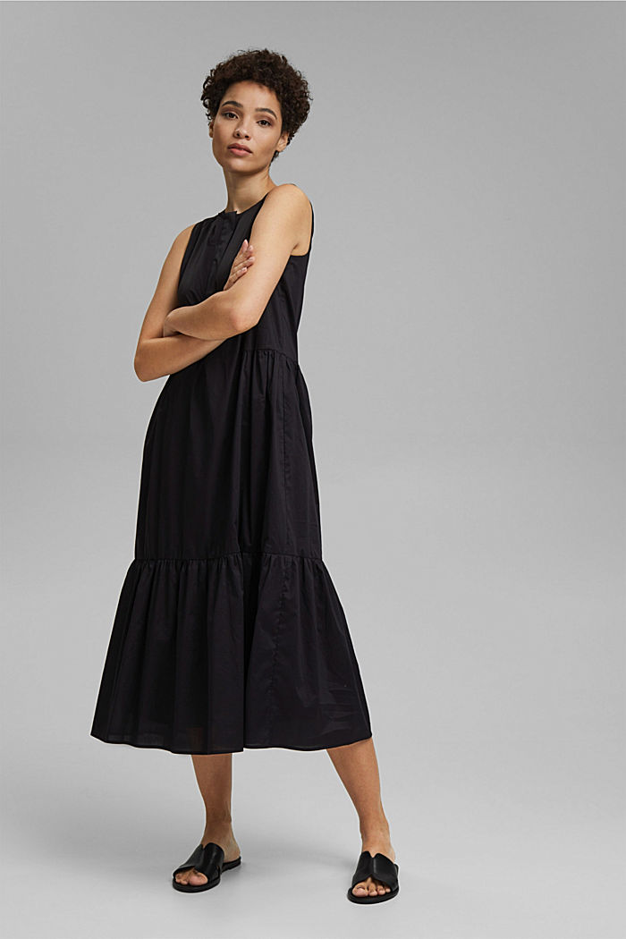 Sleeveless flounce midi dress made of cotton, BLACK, detail image number 1