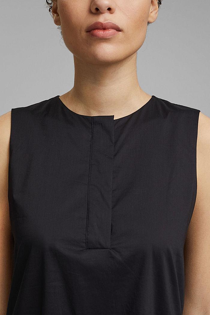 Sleeveless flounce midi dress made of cotton, BLACK, detail image number 3