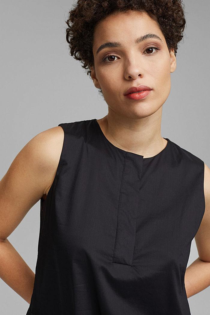 Sleeveless flounce midi dress made of cotton, BLACK, detail image number 6