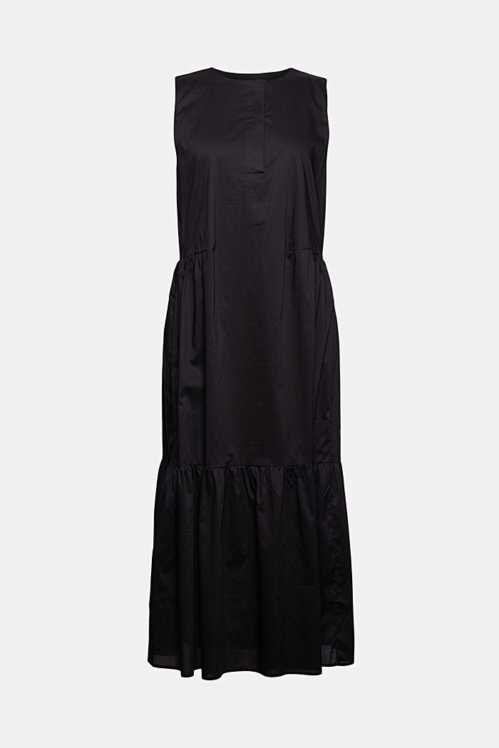 Sleeveless flounce midi dress made of cotton, BLACK, detail image number 7