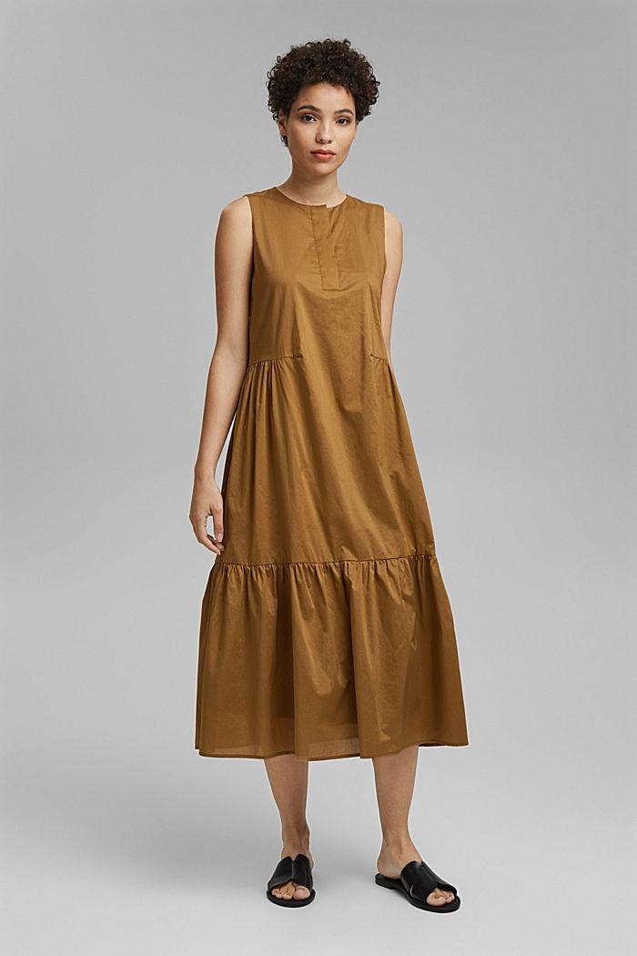 Sleeveless flounce midi dress made of cotton, BARK, detail image number 0