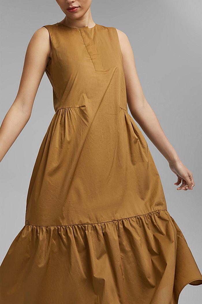 Sleeveless flounce midi dress made of cotton, BARK, detail image number 5