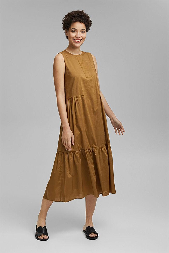 Sleeveless flounce midi dress made of cotton, BARK, detail image number 1