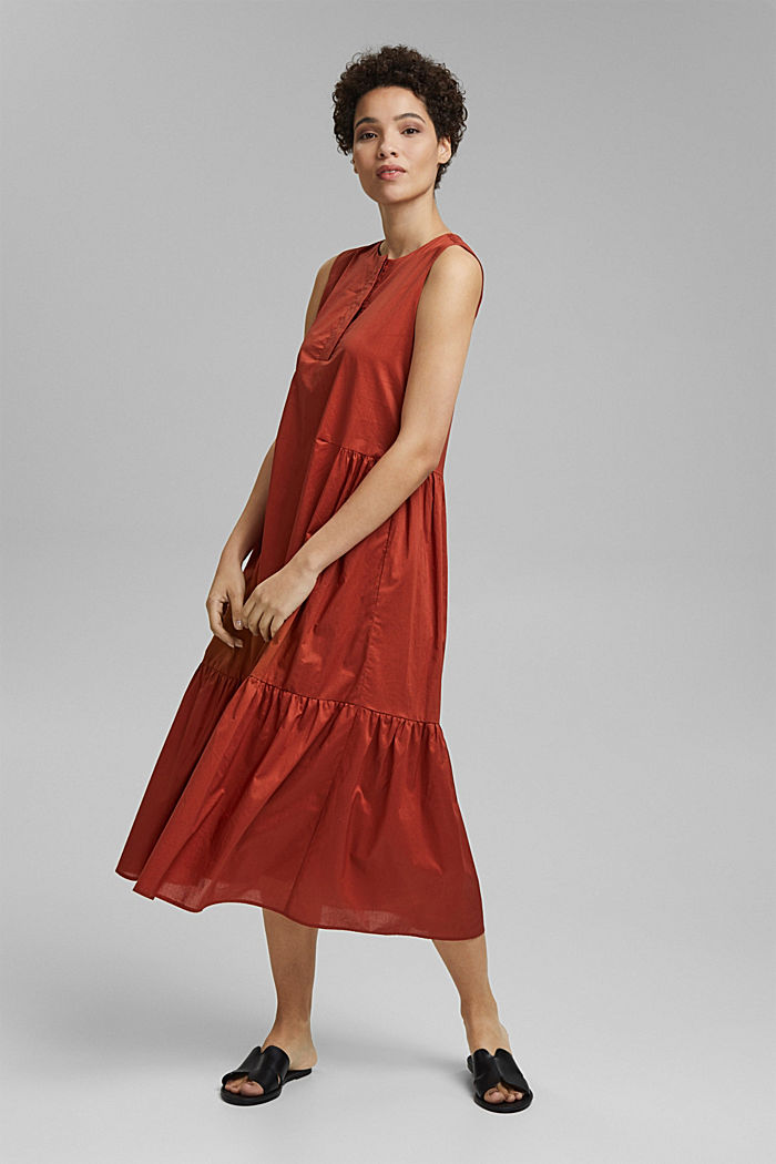Sleeveless flounce midi dress made of cotton, TERRACOTTA, detail image number 0