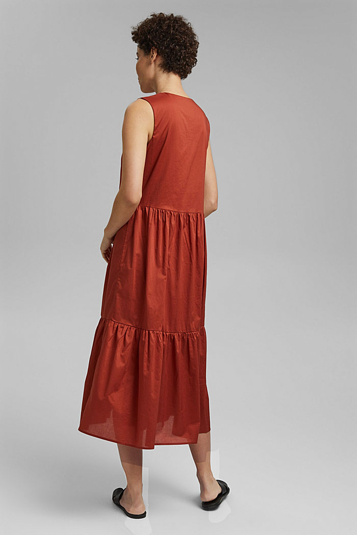 Sleeveless flounce midi dress made of cotton, TERRACOTTA, detail image number 2