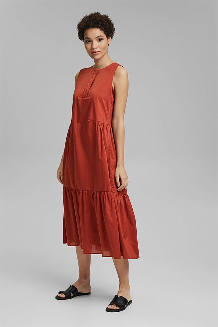 Sleeveless flounce midi dress made of cotton, TERRACOTTA, detail image number 1